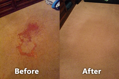 Before and after photo of carpet stain cleaning/removal